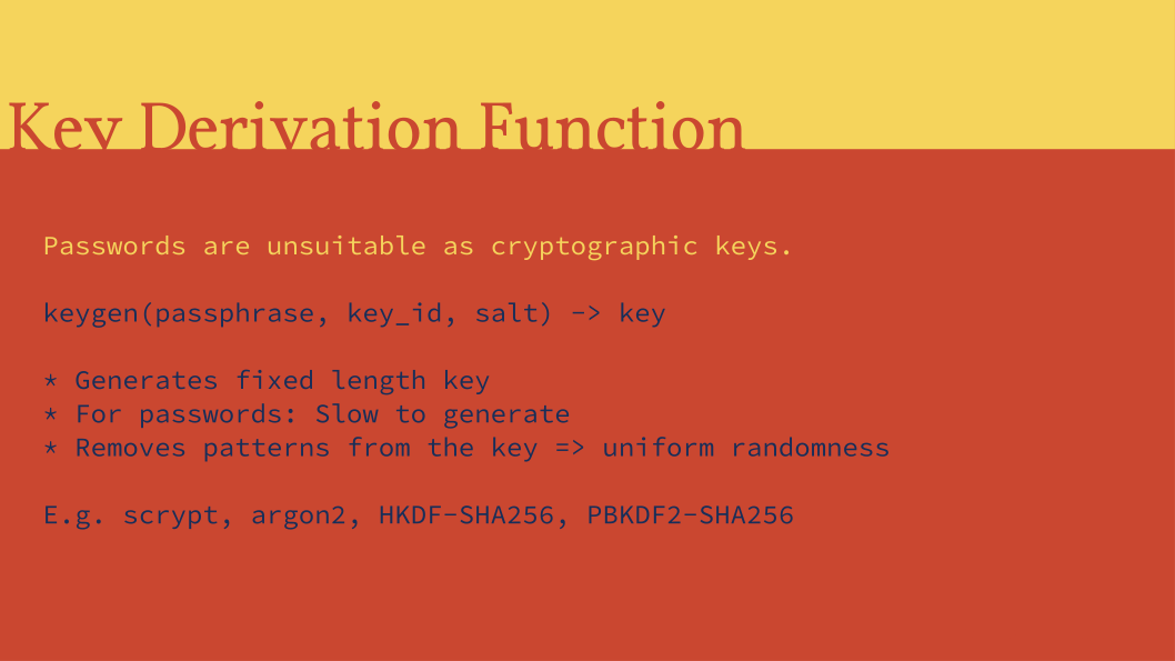 Slide: Key Derivation Functions.