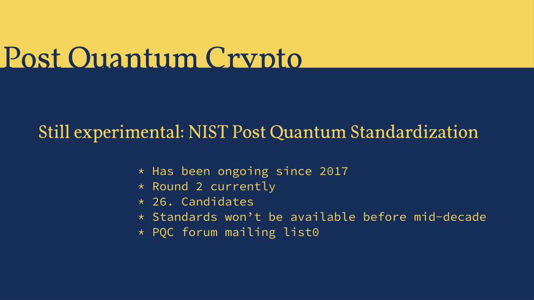 Slide: Feasibility of quantum computer based attacks.